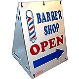 """Barber Shop Open w/Dirrectional Arrow 2-Sided 18"""" x 24"""" Sandwich Board Sign Kit"""