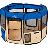 Zampa Portable Foldable Pet playpen Exercise Pen Kennel + Carrying Case for Larges Dogs Small Puppies/Cats   Indoor/Outdoor U