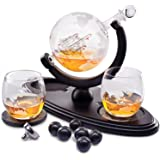 Globe Whiskey Decanter Gift Set by Royal Reserve   Home Bar Decor Liquor Dispenser with Scotch Glasses Coaster and Whiskey St