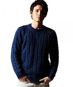 Indigo Cotton Cable Crewneck Sweater 1213-106-3070: Navy