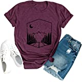 Anbech Sunrise Sunset Organic Camping Hiking Mountain T Shirts Women Travel Short Sleeve Tee Tops