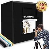 撮影キット SAMTIAN 90x90x90cm 超大型 撮影ボックス 4色背景シート(黒・白・青・黄色) 撮影ブース 撮影スタジオ 126個撮影ledライト 15000LM 高輝度 スタジオボックス プロな撮影セット 無段階調光可能 ディフューザー