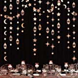 Rose Gold Eid Mubarak Ramadan Decorations Hanging Star Moon Circle Dot Crescent Lamp Garland Streamer Backdrop Banner Decorat