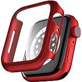 PZOZ Apple Watch 6/SE/5/4 ケース 保護フィルム アップルウォッチ6 カバー 全面保護 耐衝撃 PC アクセサリー 対応 (44mm, レッド)