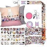 BTS Gift Set for Army - 40 BTS Lomo Cards/12 Sheet BTS Stickers/1 BTS Pillow Case/1 BTS Lanyard/1 BTS Phone Holder/1 BTS Keyc
