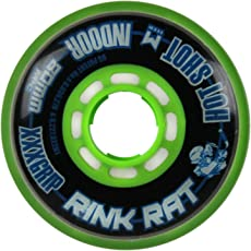 Rink Rat Singleホイールホットショットブラック/グリーン80mm 76AインラインインドアHockey