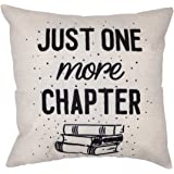 Arundeal 18 x 18 Inch Cotton Linen Square Throw Pillow Cases Cushion Cover, Quote Just One More Chapter with Books