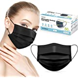 Face Mask HDFK Disposable Face Mask for Adults 3Ply Black Face Masks with Ear Loop, Dust Protective Breathable Facial Safety