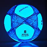adekale Soccer Balls Size 5,Glow in The Dark Soccer Ball,32 Panels Official Size Light Up Soccer with Needles and Pump Ball T