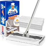 MR.SIGA Professional Dry Sweeping Mop for Hardwood, Laminate, Tile Cleaning, Dust Mop for Household Floor Cleaning, 6 Microfi