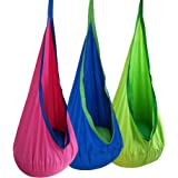 Kids Pod Swing Seat Hammock 100% Cotton Child Hammock Chair for Indoor Outdoor Hanging Seat Hammock All Accessories Included-