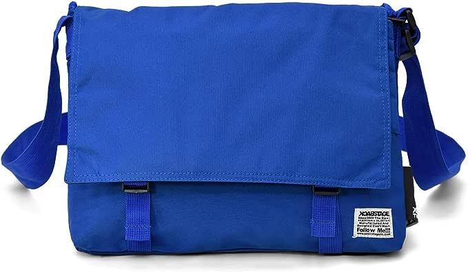 スクエア型 フラップ ショルダーバッグ [プレックス] 取り外し可能 マルチポーチ 付き PC収納 メッセンジャーバッグ ブルー