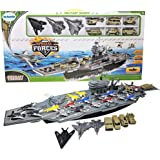 """Toy Essentials 33"""" Aircraft Carrier with Soldiers Jets Military Vehicles (18 Fighter Jets)"""