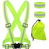 [4in1] Reflective Vest, T Tersely 4MM Reflective Glow Belt with 2 Pack Armbands + Storage Bag, Adjustable Elastic Safety Vest
