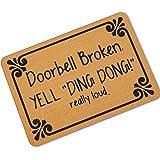 """DKISEE Indoor Outdoor Entrance Rug Floor Mat Doorbell Broken Rubber Doormat, 18""""x30"""""""