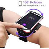 JEMACHE 180° Rotatable Running Workouts Phone Armband for iPhone 11 Pro Max, Xs Max XR X, 7 8 Plus, Samsung Galaxy S20 S10 S9