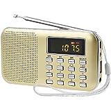 USB充電式ラジオ Aosnow 超薄型ミニポケットラジオ AM/FM 多機能 Micro SD/TFカードに対応 LEDライト付き (金色)