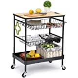 TOOLF Kitchen Island Serving Cart with Utility Wood Tabletop, 4-Tier Rolling Storage Cart with 2 Basket Drawers, Universal Lo