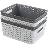 Uumitty 8 Litre Plastic Storage Basket, White and Grey, 4 Packs