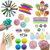 16 Pack Sensory Fidget Toys Set-Bike Chain,Marble Fidget Toys,Rainbow Magic Sensory Balls,Squeeze-a-Bean Soy Stress and Anxie