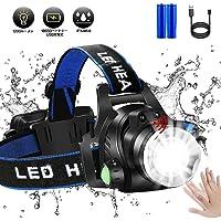 LEDヘッドライト ヘッドランプ超高輝度1200ルーメンセンシング機能付き18650 USB充電式 IPX4防水 懐中電灯 釣りズーム可能な作業灯、キャンプ、ハイキング