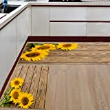 Fantasy Star Kitchen Rugs Sets 2 Piece Floor Mats 3 Sunflower on The Wooden Table Doormat Non-Slip Rubber Backing Area Rugs W