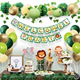 Sweet Baby Co. Jungle Theme Safari Baby Shower Decorations with Banner, Animal Centerpieces, Tropical Leaves, Greenery Garlan