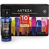 ARTEZA Iridescent Acrylic Paint Set, 60 Ml Bottles, 10 Chameleon Colors, High Viscosity Shimmer Paint, Water-Based, Blendable