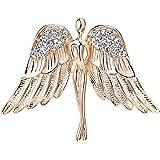 OKAJEWELRY Guardian Angel Brooch Jewel Bouquet Crystal Pin Gold Tone