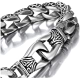 Amazing Stainless Steel Men's link Bracelet Silver Black 23cm