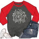 JINTING Merry Bright Shirts Tops Women Christmas 3/4 Sleeve Graphic Raglan Baseball Tee T-Shirt Tops Plus Size