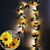 MeeDoo 20 LED Battery Powered Artificial Sunflower Garland String Lights with Timer, 7.2ft Silk Sunflower Vines with 8 Sunflo