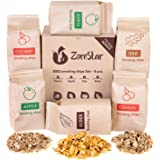 Zorestar Wood Chips for Smokers - 6 pcs Variety Pack of Oak | Alder | Cherry | Apple Chips for Smoking and Grilling + Bonus e