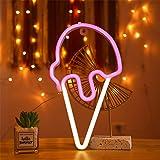 LED Ice Cream Neon Light, Cute Neon ice Cream Sign, Summer Lights Room Decor Battery or USB Powered 5V Art LED Decorative Lig