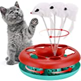 Cat Interactive Toys Roller Catch Ball 2 in 1 Pet Kitten Fun Toy with Teaser Mouse Great for Cat Entertainment, Training or H