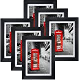 Amazing Roo 8 Pack Black Picture Frames 5x7 with Glass Front Display 6 x 8 Photos Without Matted Wall or Tabletop Decor