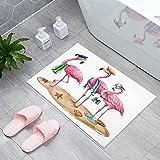 Welcome Doormat Funny Beach Pink Flamingos Home Decor Door Mats Indoor Kitchen Rugs Non Slip Bathroom Carpets Water Absorbent