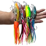 Damidel 4Pcs Large Simulation Squid Fishing Lures Bait Kit,3D Holographic Eyes,Built-in Multicolored Lead BlocksThrough Heavy