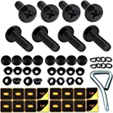 Black License Plate Screws Fastener Kit -M6 Machine License Bolts with Black Screw Covers and Anti-Rattle Foam Plates for Sec