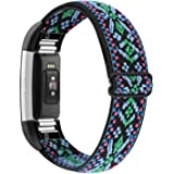 YONWORTH Adjustable Elastic Watch Band Compatible with Fitbit Charge 2 Bands, Stretchy Nylon Loop Strap Soft Wrist Bands Brac