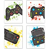 Sanrx Video Game Art Print Watercolor Typography Cardstock,Funny Gaming Themed Poster Match Controllers Picture Artwork For T