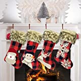 GP Life 18 Inch Christmas Stockings 4 Pack Xmas Stockings Personalized for Christmas Tree Fireplace Hanging and Party Decorat