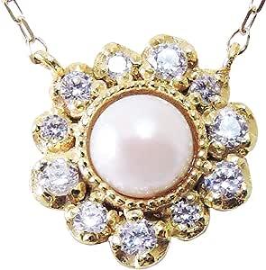 真珠の杜 真珠 K18 ゴールド アンティーク調 ペンダントネックレス レディース
