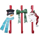 "Sunnyglade 3PCS 14"" Wreath Hanger Metal Door Hanger with Santa Claus, Snowman, Bow-Knot for Front Door Christmas Decoration"
