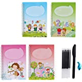 Preschool Handwriting Copybook, 4pcs Set Reusable Magic Calligraphy Pen Tracing Book Kindergarten Grooves Post Hard Pen Writi
