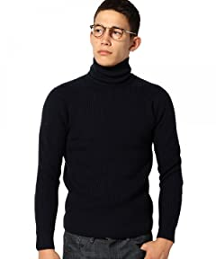 Mercerized Wool Rib Turtleneck Sweater 3213-199-0329: Navy