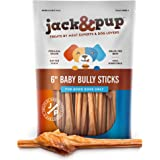 """Jack&Pup Bully Sticks for Small Dogs - 6 Inch Odor Free Baby Bully Stick Dog Chew (10 Pack) 6"""" Long Premium Grade All Natural"""