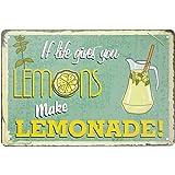 Tin Sign -IF Life Gives You Lemons Make Lemonade- Vintage Style Bar Pub Garage Hotel Diner Cafe Home Iron Mesh Fence Farm Sup