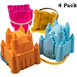 Top Race Sand Castle Beach Bucket Toy Set Sandcastle Mould, Pack of 4 Colourful Stackable, 8 Inch Pails for Childlren Kids 2