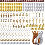 YMHPRIDE 200 Pieces Deadlocks Beads Hair Jewelry Decoration Accessories Metal Hair Cuffs Gold Silver Aluminum Hair Coil Woode